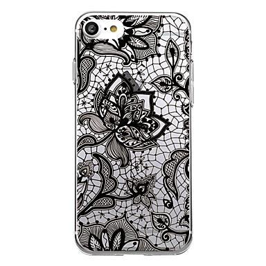 Etui Käyttötarkoitus Apple Ultraohut Läpinäkyvä Kuvio Takakuori Lace Printing Pehmeä TPU varten iPhone 7 Plus iPhone 7 iPhone 6s Plus