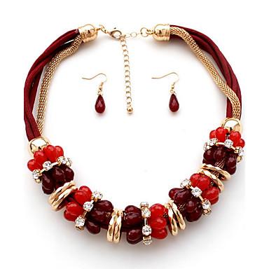 Kadın Diğerleri Kişiselleştirilmiş Lüks Moda Euramerican Avrupa Takı Seti Tellerinin Kolye Mücevher Sentetik Taşlar alaşım Takı Seti