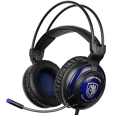 SADES SA-805 Peste ureche Cordeluțe Cablu Căști Dinamic Plastic Jocuri Cască Cu controlul volumului Luminos -Izolarea zgomotului Cu