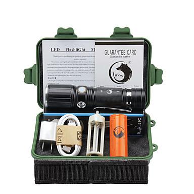 U'King LED taskulamput LED 2000 lm 3 Tila Cree XM-L T6 Akulla ja adapterilla Zoomable Säädettävä fokus Leikata Telttailu/Retkely/Luolailu