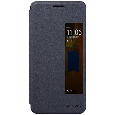 Etui Käyttötarkoitus Huawei Ikkunalla AutomAutomaattinen auki / kiinni Flip Himmeä Suojakuori Yhtenäinen väri Kova PU-nahka varten Mate 9