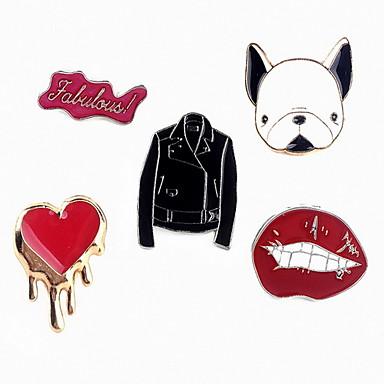 Dame Seturi de bijuterii Broșe Design Animal Aliaj Caini Alphabet Shape Animal Buze Inimă Bijuterii Pentru Zilnic