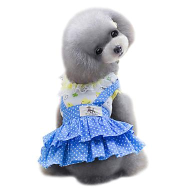 Pes Šaty Oblečení pro psy Puntíky Žlutá   Modrá Bavlna Kostým Pro domácí  mazlíčky Léto Dámské 65a488da1b