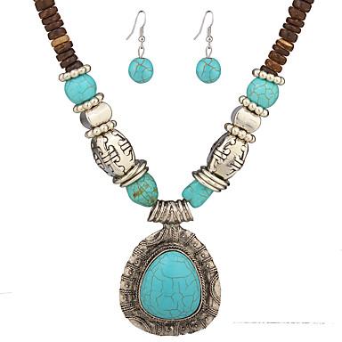 Γυναικεία Σετ Κοσμημάτων Κρεμαστά Κολιέ Κοσμήματα Μοναδικό Κρεμαστό Πεπαλαιωμένο Στυλ Λαογραφικό κοστούμι κοστουμιών Τυρκουάζ Κράμα