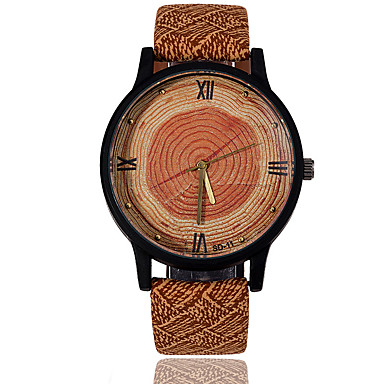Erkek Saat Ahşap Bilek Saati Elbise Saat Moda Saat Spor Saat Quartz / Deri Bant İhtişam Vintage Günlük kamuflaj Havalı Çizgili Siyah
