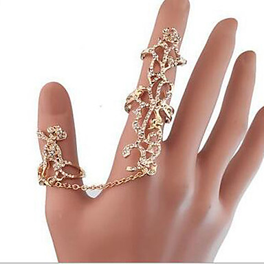 Γυναικεία Στρας / Προσομειωμένο διαμάντι / Κράμα Τριαντάφυλλα / Λουλούδι Δαχτυλίδι - Πολυτέλεια / Euramerican / Προσαρμόσιμη Χρυσό