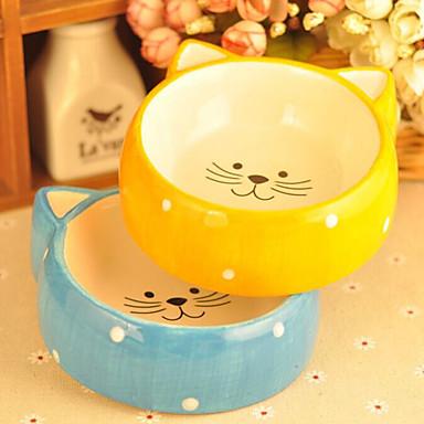 Kot Pies Podajniki Pokarmu Zwierzęta domowe Miski i Żywienie Wodoodporny Niebieski Żółty Ceramika