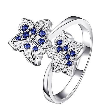 Yüzükler Günlük Mücevher Zirkon Bakır Gümüş Kaplama Yüzük 1pc,7 8 Gümüş Mavi Mor