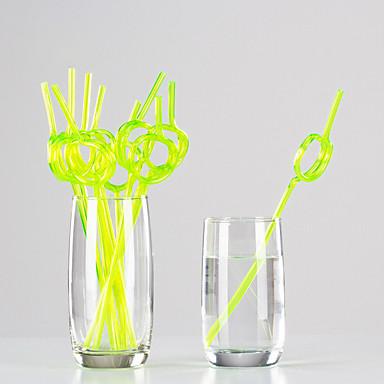 Värillinen Juomalasit, # ml Kertakäyttöinen Muovi Mehu Vesi Pillit