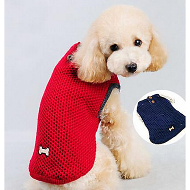 Γάτα Σκύλος Παλτά Ρούχα για σκύλους Μονόχρωμο Κόκκινο Μπλε Βαμβάκι Πούπουλα Στολές Για κατοικίδια Καθημερινά καουμπόη