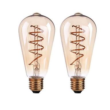 ONDENN 2pcs 4W 400 lm B22 E26/E27 Żarówka dekoracyjna LED ST64 4 Diody lED COB Przysłonięcia Ciepła biel AC 220-240V AC 110-130V