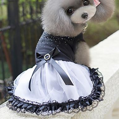 Kedi Köpek Elbiseler Köpek Giyimi Sevimli Prenses Beyaz/Siyah Kostüm Evcil hayvanlar için