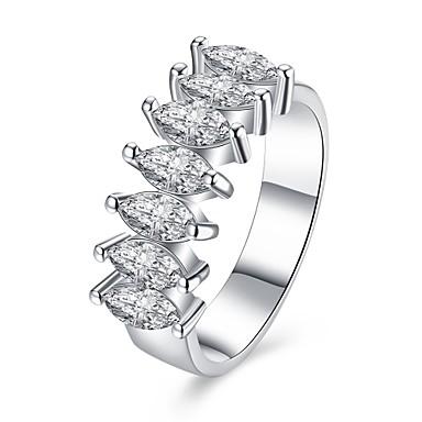 للمرأة خاتم فضي زركون نحاس تصفيح بطلاء الفضة موضة مناسبة خاصة يوميا فضفاض مجوهرات