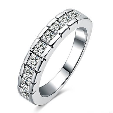 Damskie Obrączki Duże pierścionki Pierscionek Unikalny Geometryczny Modny Osobiste euroamerykańskiej Kryształ Miedź Posrebrzany Round