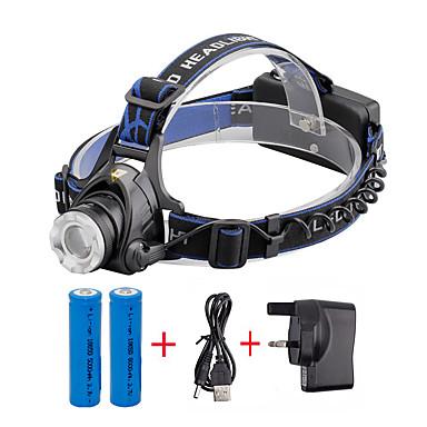 U'King Φακοί Κεφαλιού Μπροστινό φως LED 2000 lm 3 Τρόπος Cree XM-L T6 με μπαταρίες και φορτιστή Zoomable Ρυθμιζόμενη Εστίαση Μικρό