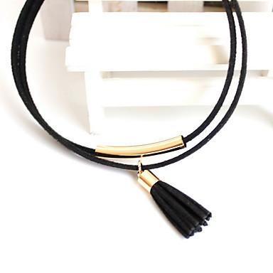 Kadın Gerdanlıklar Mücevher Circle Shape Mücevher alaşım Avrupa Püsküller Moda Kişiselleştirilmiş Euramerican Siyah Mücevher IçinParti