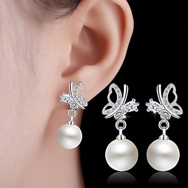 Kolczyki wiszące Pearl imitacja Stop White Biżuteria Na Ślub Impreza Codzienny Casual 1 para