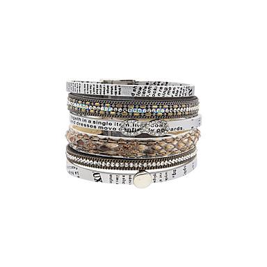Bransoletki ze skóry Przyjaźń Modny Bohemia Style Ręcznie wykonane Skórzany Kryształ górski Stop Flower Shape Biżuteria Na Ślub Impreza