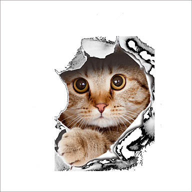 حيوانات وقت الفراغ 3D ملصقات الحائط لواصق حائط الطائرة لواصق المرحاض, الفينيل تصميم ديكور المنزل جدار مائي مرحاض