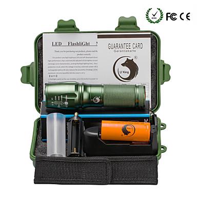 U'King LED Flashlights LED 2000 lm 5 طريقة Cree XM-L T6 مع البطارية والشاحن زوومابلي Adjustable Focus Camping/Hiking/Caving Everyday Use