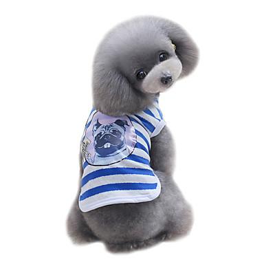 Koira T-paita Liivi Koiran vaatteet Sievä Muoti Urheilu Raita Punainen Sininen Asu Lemmikit