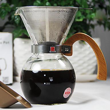 250 ml Paslanmaz Çelik Cam Kahve Makinesi Seti , 2 su bardağı Brew Coffee Maker Yeniden kullanılabilir
