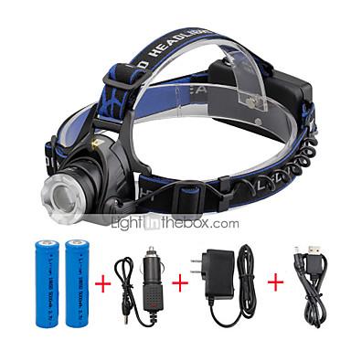 U'King Czołówki Reflektor LED 2000 lm 3 Tryb LED z bateriami i ładowarkami Zoomable Regulacja promienia Niewielki rozmiar Łatwe