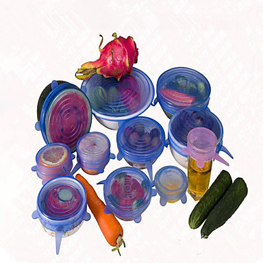 6pcs / set kapak evrensel silikon saran gıda pot streç silikon kapak tava mutfak vakum kapak mühürleyen rastgele renk