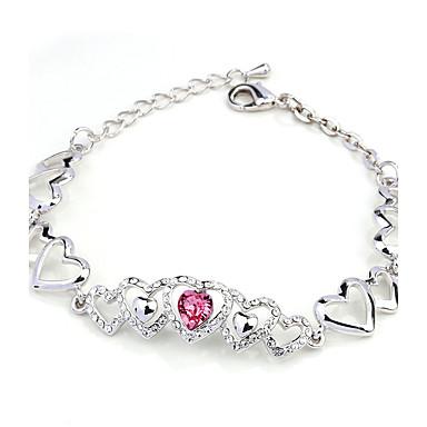 Kadın Zincir & Halka Bileklikler Kristal Aşk Doğa Moda Kristal alaşım Heart Shape Mücevher Uyumluluk Parti Nişan