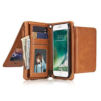 Için Cüzdan Kart Tutucu Flip Pouzdro Tam Kaplama Pouzdro Solid Renkli Sert Gerçek Deri için AppleiPhone 7 Plus iPhone 7 iPhone 6s Plus/6