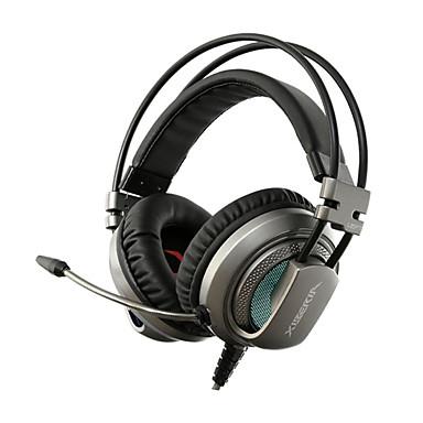 V10N فوق الأذن عقال سلكي Headphones ديناميكي بلاستيك الألعاب سماعة عزل الضوضاء مع ميكريفون مع التحكم في مستوى الصوت مضيء سماعة