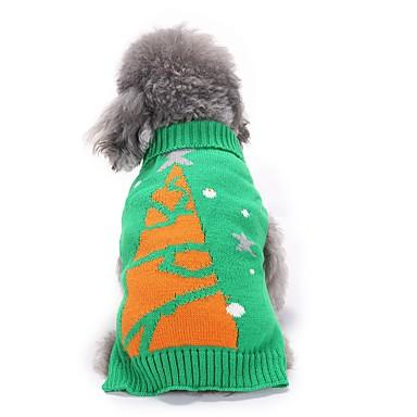 Γάτες Σκυλιά Πουλόβερ Ρούχα για σκύλους Χειμώνας Άνθινο / Βοτανικό Cute Μοντέρνα Χριστούγεννα Πράσινο