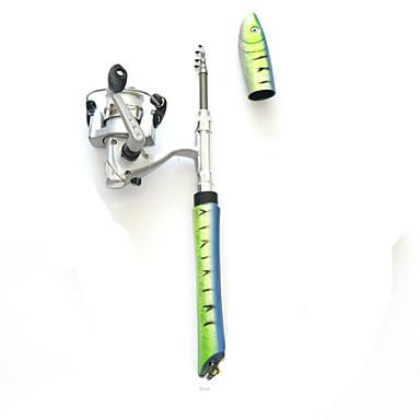 عصا طائرة الجليد الصيد رود ألمنيوم صيد الأسماك في الجليد Fishing Rod + Reel مخفي
