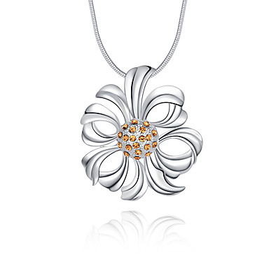 Kadın Çiçek Çiçek Lüks Eşsiz Tasarım Logo Stili Çiçek Stili Sallantılı Stil Çiçekler Uçlu Kolyeler Kristal Som Gümüş Kristal Simüle Elmas