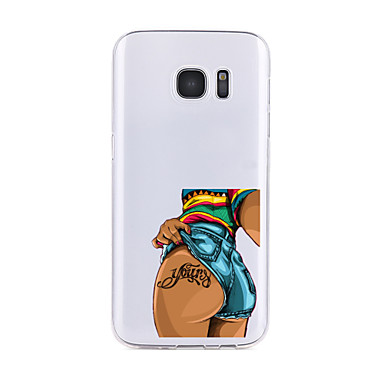 Kılıf Na Samsung Galaxy S7 edge S7 Przezroczyste Wzór Czarne etui Seksowna dziewczyna Miękkie TPU na S7 edge S7 S6 edge plus S6 edge S6