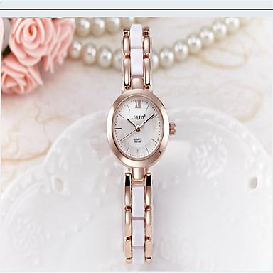 Bayanların Moda Saat Sahte Elmas Saat Quartz Seramik Bant Günlük Siyah Beyaz Altın Rengi Pembe Mor