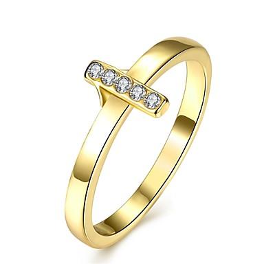 Γυναικεία Δαχτυλίδι Cubic Zirconia Χρυσό Ζιρκονίτης Χαλκός Επιχρυσωμένο Κράμα Geometric Shape Εξατομικευόμενο Geometric Μοναδικό Βίντατζ
