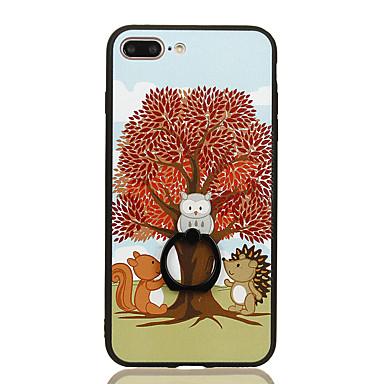 Için Yüzüklü Tutacak Temalı Pouzdro Arka Kılıf Pouzdro Ağaç Sert PC için Apple iPhone 7 Plus iPhone 7