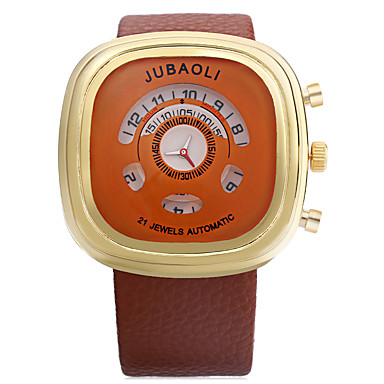JUBAOLI للرجال ساعة رياضية كوارتز طرد كبير جلد فرقة أسود