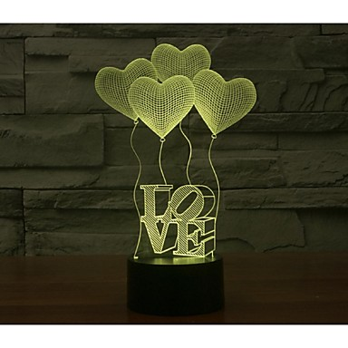 ημέρα τέσσερις αγάπη 3d φώτα του Αγίου Βαλεντίνου πολύχρωμο αφής οπτικό τρισδιάστατο εξοικονόμηση ενέργειας λαμπτήρα κλίση