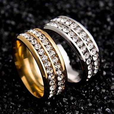 Γυναικεία Δαχτυλίδια Ζευγαριού Χρυσό Μαύρο Ασημί Ανοξείδωτο Ατσάλι Ζιρκονίτης Κυκλικό Μοναδικό Γάμου Πάρτι Ειδική Περίσταση Καθημερινά