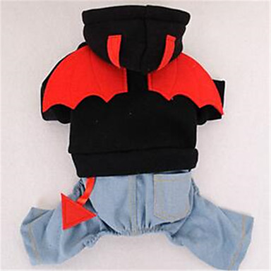 Pies Kombinezon Ubrania dla psów Urocza Kreskówka Black Czerwony Kostium Dla zwierząt domowych