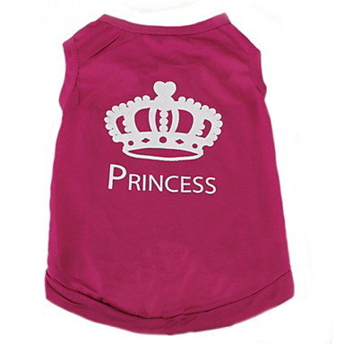 cheap Dog Clothing & Accessories-Cat Dog Shirt / T-Shirt Dog Clothes Tiaras & Crowns Rose Terylene Costume For Spring &  Fall Summer Women's Casual / Daily Fashion