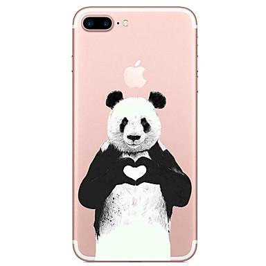 Pouzdro Uyumluluk Apple iPhone 7 Plus iPhone 7 Şeffaf Temalı Arka Kapak Panda Karton Yumuşak TPU için iPhone 7 Plus iPhone 7 iPhone 6s