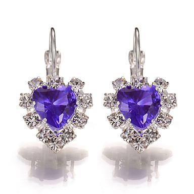 Damskie Kolczyki wiszące Kolczyk Kryształ Rhinestone Miłość Serce Kryształ Kryształ górski Stop Serce Biżuteria Ślub Impreza