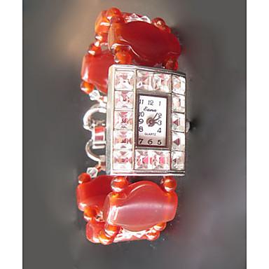 Γυναικεία Μοδάτο Ρολόι Χαλαζίας Σμαραγδένιο Μπάντα Πορτοκαλί Κόκκινο