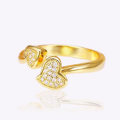 Damskie Miedź Serce mankiet Pierścień Pierscionek - Serce LOVE Miłość Serce Modny Korygujący Gold Silver Pierścień Na Ślub Zaręczynowy