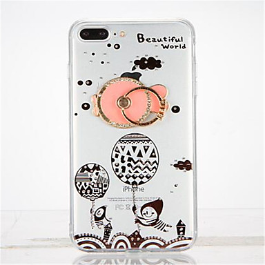 Varten Paljetti Tuella Sormuksen pidike DIY Etui Takakuori Etui Piirros Pehmeä TPU varten Apple iPhone 7 Plus iPhone 7