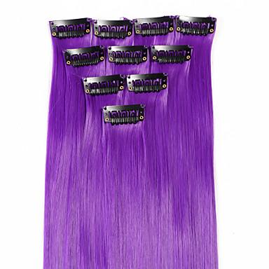 neitsi 10pcs 18inch destaque colorido sintético grampo em extensões do cabelo roxo em
