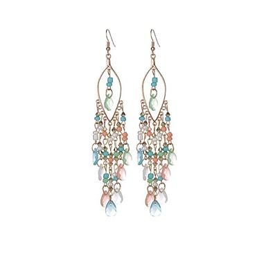 Pentru femei Cercei Picătură Cristal Ciucure Cristal Reșină Aliaj Taper Shape Bijuterii Alb Negru Benzi cromatice Verde Albastru
